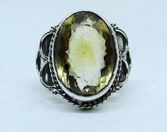 Antique Charming Natural 925 Silver with Citrine Stone Ring Size US 9