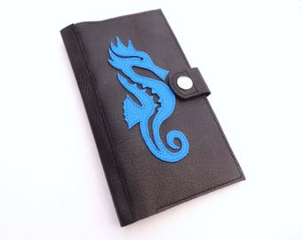 Wallet - black and blue pattern leather checkbook seahorse