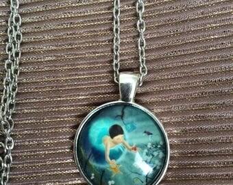 seashore cabochon necklace