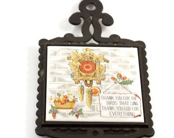 Vintage Cast Iron Ceramic Trivet Pot Holder, Cuckoo Clock, Mid Century Kitchen
