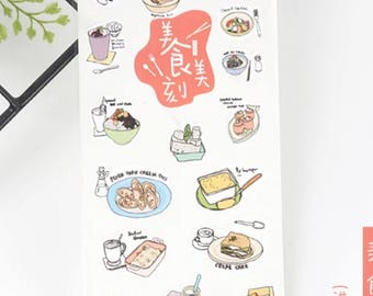 Lovely Food Stickers Sheet, Scrapbooking, Diary, Planner, Decoration, Journal Stickers