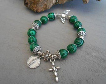 Malachite stone. Baptism Gifts for Godparents. Custom. Baptism Gift. Godparent Gift. Miraculous Medal.Catholic Jewelry. Religious  Bracelet.
