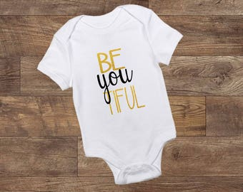 BE-you-TIFUL - Onesie - Bodysuit - Baby Girl - Black and Gold - Baby - Custom Made
