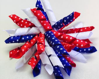 4th of July dot Korker Hairbow