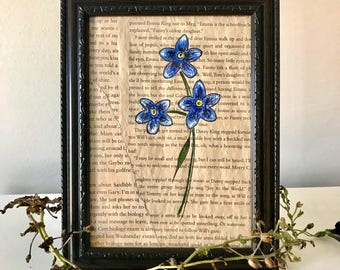 Hand-painted, Framed, Acrylic Forget Me Not Flower Painting