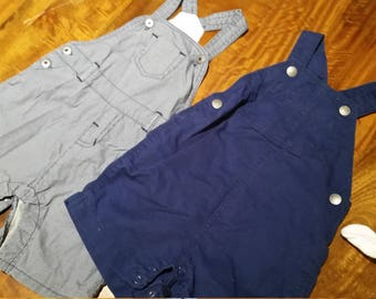 2x cute little boys overalls size 3 to 12 months