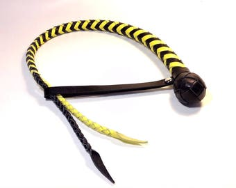 Leather whip, One-tailed leather whip, BDSM whip, One-tailed whip without hard grip, a snake. The total length is 60 cm.