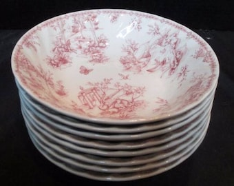 Vintage Churchill Cereal/Soup bowls pink Toile - set of 8