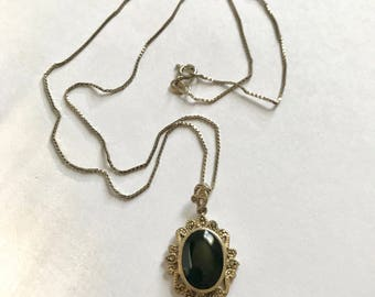Vintage Onyx Sterling Silver Necklace