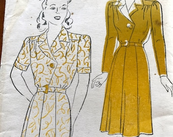 Vintage 1940's dress pattern---New York Pattern 606---Size 12 Bust 30 UNUSED