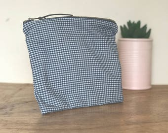 Large square checked pouch with floral lining