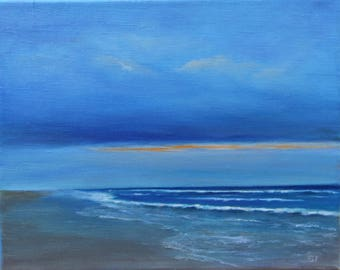 Original oil seascape painting on stretched linen, 8X10 inches.