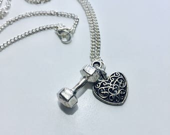 Necklace w/ Heart & Dumbbell Charm