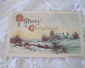 Antique Victorian christmas Postcard w/ Rural Idyllic Scene c1910