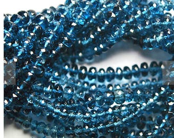 AAA London Blue Topaz Rondelles, London blue topaz beads, 5-6mm, Quantity 20