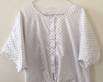 Vintage Shirt With Blue Dots
