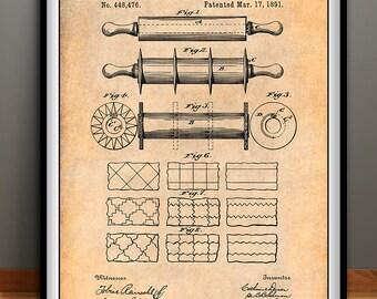 1891 Rolling Pin Patent Print, Kitchen Decor, Baker Gift, Cake Art, Bakery Decor, Chef Gift, Homemaker Gift, Restaurant Decor, Kitchen Art