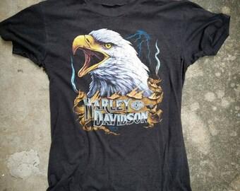 Ultra RARE vintage Harley Davidson thrashed 3D Emblem eagle tshirt // small