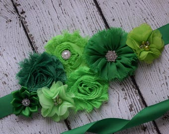 Green Sash , flower Belt, maternity sash, wedding sash, flower girl sash, maternity sash belt