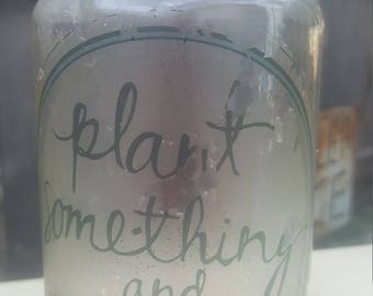Vintage canning jars with cute sayings on them