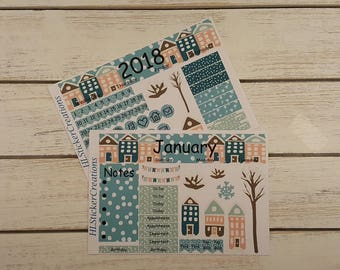 Happy Planner January Monthly Kit, Winter, Town, Houses, Snowflakes, Snow