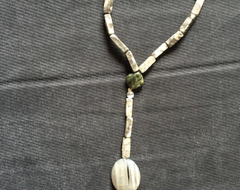 Stone and glass bead anklet