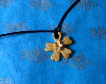 Yellow daffodil flower necklace