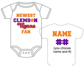 Clemson baby etsy newest clemson tigers fan custom made and personalized football gerber onesie jersey you choose name number negle Image collections