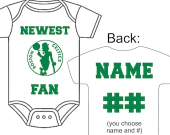 Baby basketball hat etsy newest boston celtics fan custom made personalized basketball gerber onesie jersey optional socks hat choose name negle Image collections