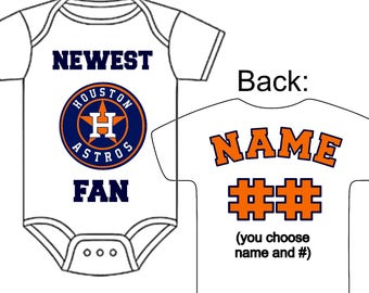 Astros baby etsy newest houston astros fan custom made personalized baseball gerber onesie jersey optional socks hat choose negle Choice Image