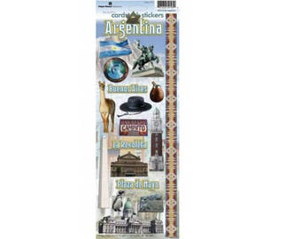 Scrapbook Stickers - Paper House Productions Argentina Cardstock Travel & Vacation Embellishments
