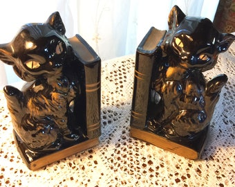 Pre-WWII Ceramic Cats Bookends with bud vases. Made in Japan
