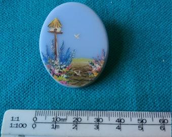Hanpainted vintage blue Plastic Brooch
