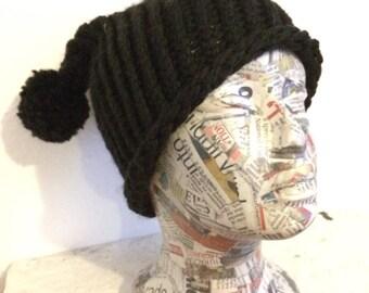 Kids black bobble beanie. 2 pompom ears. Goth. Punk. Bear. Dog.