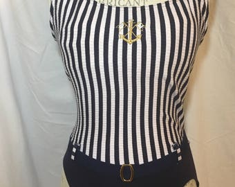 maillot one piece swimsuit 80s vintage retro women's nautical anchor blue and white stripes