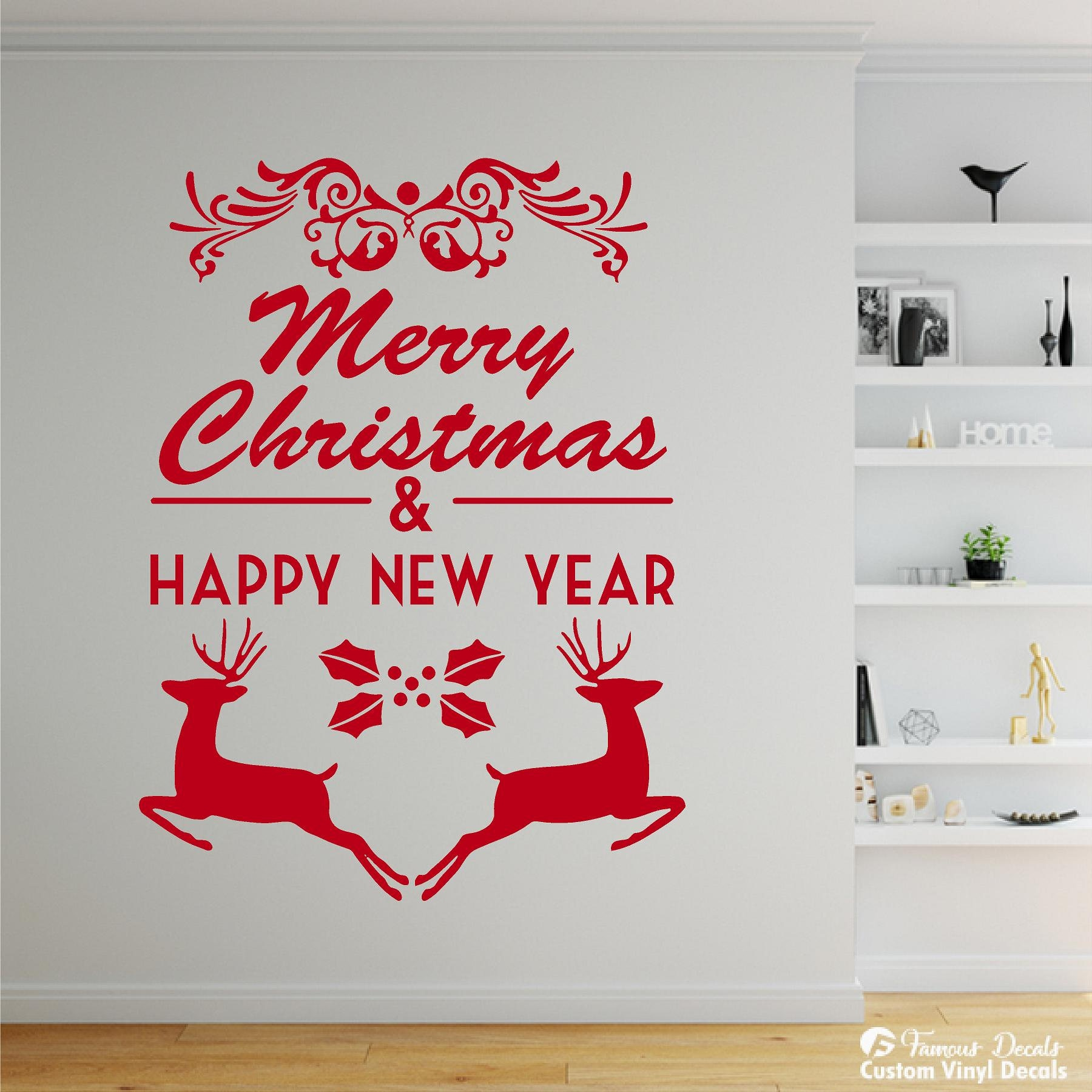 Merry Christmas Happy New Year Decal Wall Decals Reindeer Decal - Custom vinyl wall decals christmas