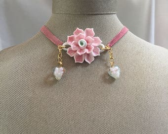 Pink porcelain flower and suede choker necklace