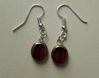 Dark Red and Gold Square Drop Earrings