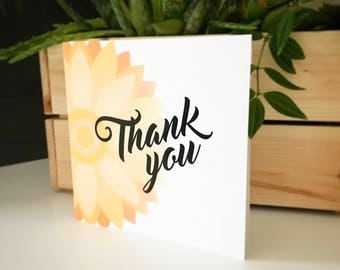 Geometric Floral Thank You Card