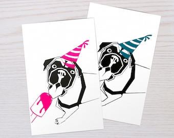 Handmade Screen Printed Postcard of boxer | Postcards Animals | Pink and Blue | Party dog |