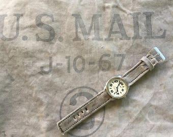 Vintage 1967 Canvas Mail bag watch strap