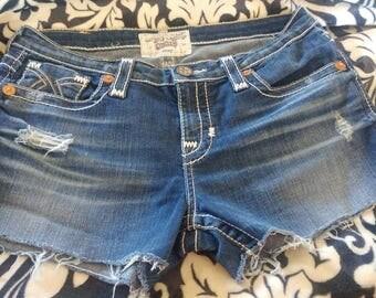 Big Star Remy denim cutoff shorts, handmade, some stretch, size 32 women's