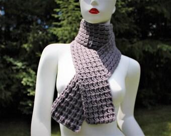 Gray Crochet Scarf - FREE SHIPPING