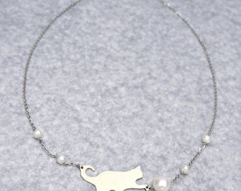 Stainless steel, nickel silver metal cat necklace, white freshwater pearl.