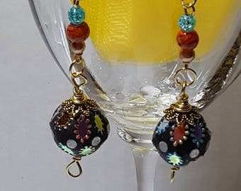 Colorful Ball Earrings with Gold Tone Accents