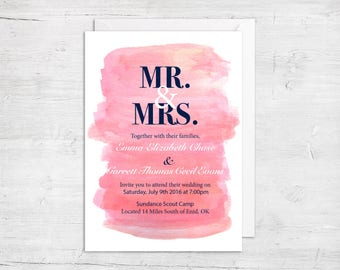 Pink Spring/Summer Wedding Invitations - Pink and Navy Wedding Invitation Template - Pink Wedding Invitation - Blush Pink Wedding