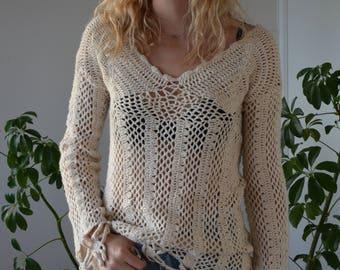 Bohemian / Boheme / Vintage / Handmade / Cotton cream Crochet Jumper/ Sweater size 8 10  /  70's 80's 90's