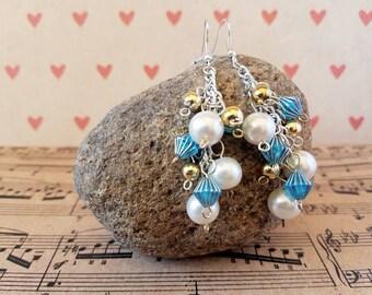 Handmade white pearl cluster earrings