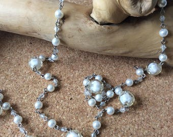 Clear beads and pearl  long necklace