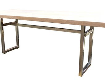 kitchen or living room in oak with stainless steel foot model T7 225 X 100 cm